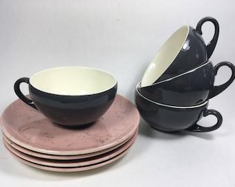 Mid Century Blue Ridge Southern Potteries Pink Spiderweb Dinnerware Cups and Saucers 1950 & Mid Century Oneida Melamine Dinnerware Daisy Pattern Avocado