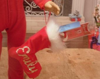 Red Velveteen Christmas Stocking Filled for American Girl Dolls