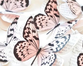 Papillons rose poudré, papillon rose pastel, déco mariage rose poudré, decoration mariage rose pale, mariage romantique et glamour