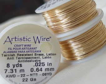 Artistic Wire tarnish-resistant brass beading wire, 22 gauge, 8 yards, .64mm thick