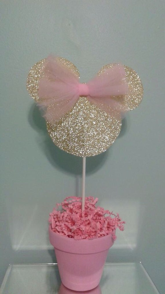 Minnie mouse centerpiece pink and gold