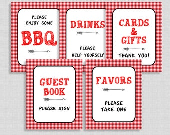 BBQ Shower Table Signs Package, Red Gingham Shower Signs, 5 Sign Bundle, Barbecue, Neutral, INSTANT PRINTABLE
