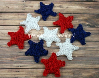 """Mini Chiffon Star Rosettes - Red White and Blue - Fourth of July Stars - 2"""" - 2.5"""""""