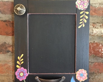 Small Hand Made Painted/Decoupaged Black Floral Chalkboard