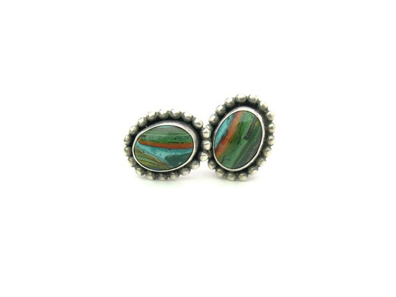 Vintage Southwestern Sterling Silver Earrings Cabochon Stones Signed VM