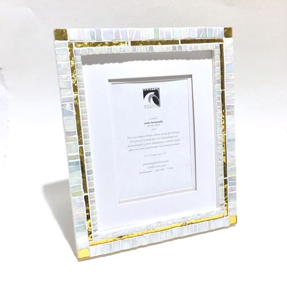 50TH GOLDEN ANNIVERSARY White with Gold Picture Frame Mosaic