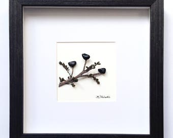Birds on a Branch Pebble Art in Shadowbox
