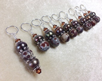 Cocolate Brown Knitting Stitch Markers | Gift for Knitters | Snag Free