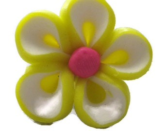 Yellow Polymer Clay Flowers 20mm Beads Set of 4 (H11)