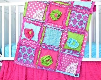 Floral Crib Bedding - Turquoise/ Green / Pink Crib Bedding - Whimsical Nursery - Baby Bedding Girl Baby Rag Quilt- Mini Crib Bedding