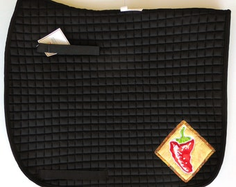 Be Passionate! Black Dressage Saddle Pad with Chili Pepper Medalions.  HD-88