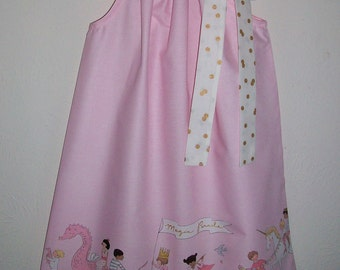 Pillowcase Dress Magical Parade Michael Miller Pink Dress Gold Metallic Girls Dress with Unicorn Princess Dragons Unicorn Birthday Party