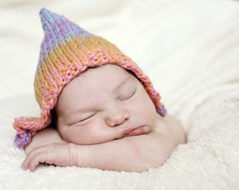 Knitting Pattern, Pixie Hat Pattern, Easy Baby Pattern, Baby Hat Pattern, Baby Knitting PDF Pattern, Easy Knit Baby Hat RAINBOW