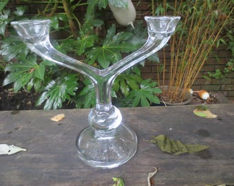 Vintage French vintage glass double candlestick