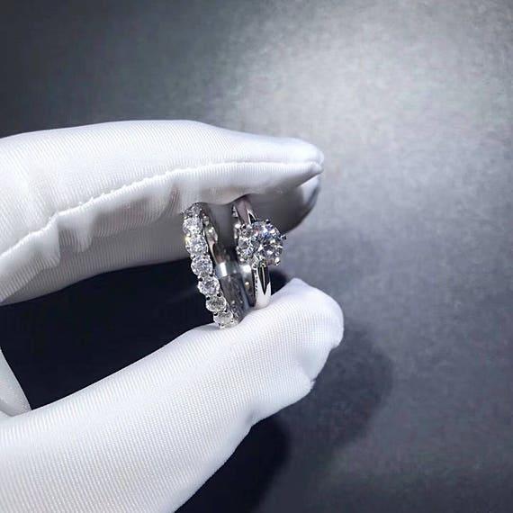 17 ctw Bridal Sets Wedding Ring Set 1 Carat Round 6 prong