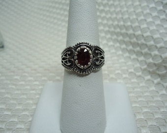 Oval Cut Ruby Ring in Sterling Silver  #1941