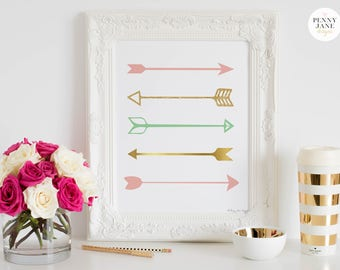 Arrows Wall Decor, Arrow Art Print, Pink Gold Arrow Art, Baby Shower Gift, Digital Download, Baby Shower Decor, Nursery Arrow Printable