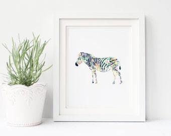 Zebra Nursery Print, floral print, zebra wall art, summer print, tropical print, nursery print, office print, printable art, print download