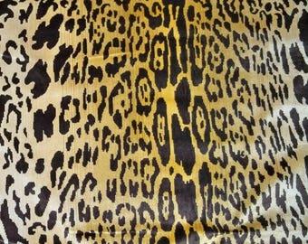 SCALAMANDRE LEOPARDO Leopard Silk Velvet Fabric 2 Yards Ivory Gold Brown
