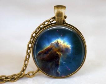 Galaxy Necklace - Nebula Jewelry Eagle Nebula Necklace Hipster Space Pendant Astronomy Necklace Universe Necklace Blue Necklace Galaxy Jewel