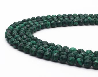 1Full Strand Malachite Faceted Round Beads , 8mm 10mm Wholesale Malachite Gemstone For Jewelry Making