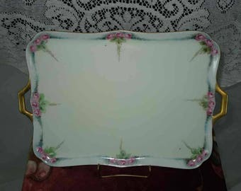 Vintage Porcelain Dresser Tray with Handles. Vanity Tray. Hand Painted. Pink Roses.