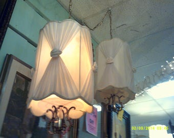 Fabulous Pair of Hollywood Regency Hanging White Lamps Hollywood Glam