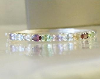 "Sterling Silver 925 Genuine Birthstone Amethyst Garnet Peridot Citrine Gemstone Bangle Clamp Wrap Bracelet 7"""