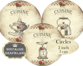 Cuisine French Kitchen Cooking Circles 2 inch Instant Download digital collage sheet C250