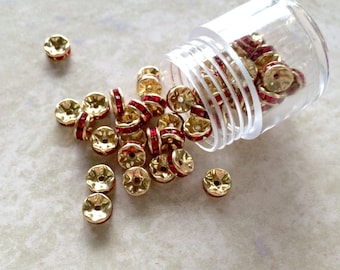6mm Siam & Gold Rondelle Spacer Beads with Red Crystals  (#386) ~ Goldtone