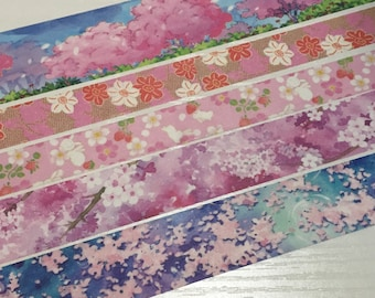 SAMPLE: 5 Designs of Lovely Sakura Blossom Theme Limited Edition Washi Tape (1m each)