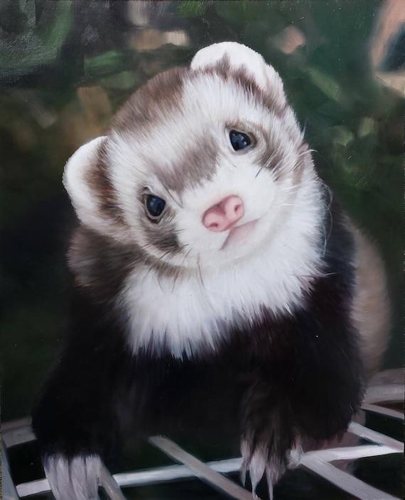 Custom Pet Portrait - Ferret Painting - Oil Painting - Pet Painting - Ferret Art - Unique Gift