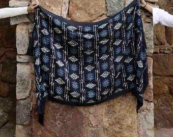 black block print scarf, hand dyed, block printed, scarf wrap Cotton/Silk, women, Fashion, Accessories, fashion scarves gift  - Jyoti