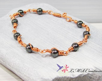 Copper Wire Link Bracelet with Hematite Beads, Beaded Wire Wrapped Bracelet, Boho Bracelet, Copper Jewelry