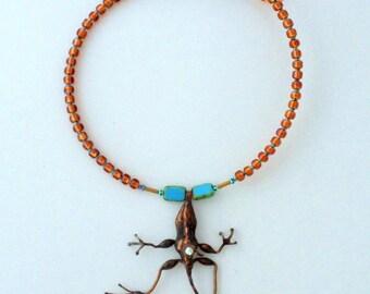 Handmade Lizard Necklace, Lizard Choker, Copper Lizard, Gecko Necklace,
