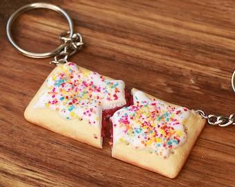 Pop Tart Friendship Keychains - food jewelry, miniature food, kawaii, bff keychains, friendship jewelry, friends, best friend keychain