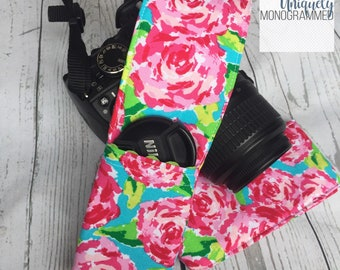 Camera Strap-Padded Camera Strap Cover Lens Cap Pocket-Photographer Gift-Bright Lilly Floral-pink-green-turquoise
