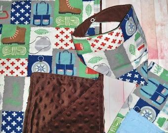 Baby Shower Gift Boy -Camping Minky Baby Blanket -Baby blanket, bib, and burp cloth, bandana