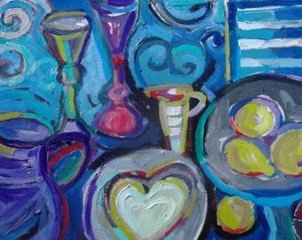 OIL PAINTING, Celebration ,original ART, home decor, wall decor, Mediterranean