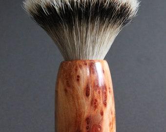 Silvertip badger shaving brush with rare and beautiful sapwood burl from California redwood, plus narra tropical hardwood