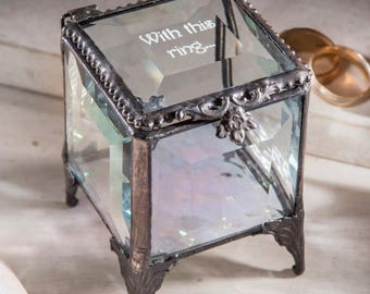Engagement Ring Box Ring Bearer Box Personalized Glass Jewelry Box Ring Dish Wedding Ring Engraved Stained Glass Box 153 EB234