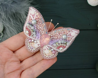 Pink Butterfly Brooch Seed beaded brooch Butterfly Pin Butterfly Jewelry Insect Brooch Beetle brooch Butterfly Lovers Valentine's Day Gifts