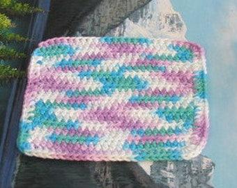 Hand crochet cotton dish cloth 7 by 7.5 cdc 140