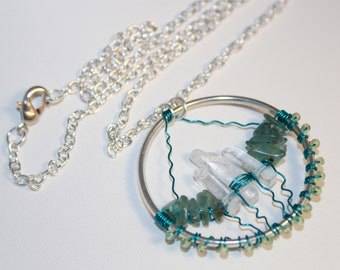 Crystal Castle Lightning Mountain Necklace Tribal Space Celestial Collection by Shimmer Shimmer Quartz Peridot Apatite Circle Geometric