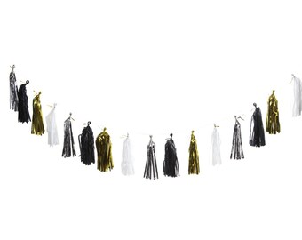 Tissue Tassel Garland (Black, White, Silver, Gold)