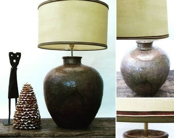 Eartha large statement lamp handmade leather trimmed parchment lampshade gift idea house warming cottage style