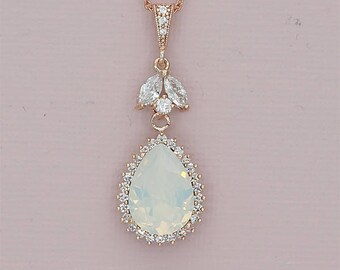 White Opal Necklace Opal Wedding Necklace Rose Gold Bridal Jewelry Swarovski Rhinestone Necklace for Brides Bridesmaid Necklace silver gold