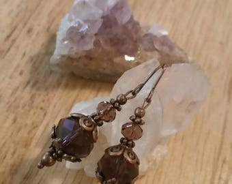 Dangle Drop Earrings, Bohemian Earrings, Purple Earrings, Boho Jewelry, Boho Jewellry, Glass Beaded Earrings