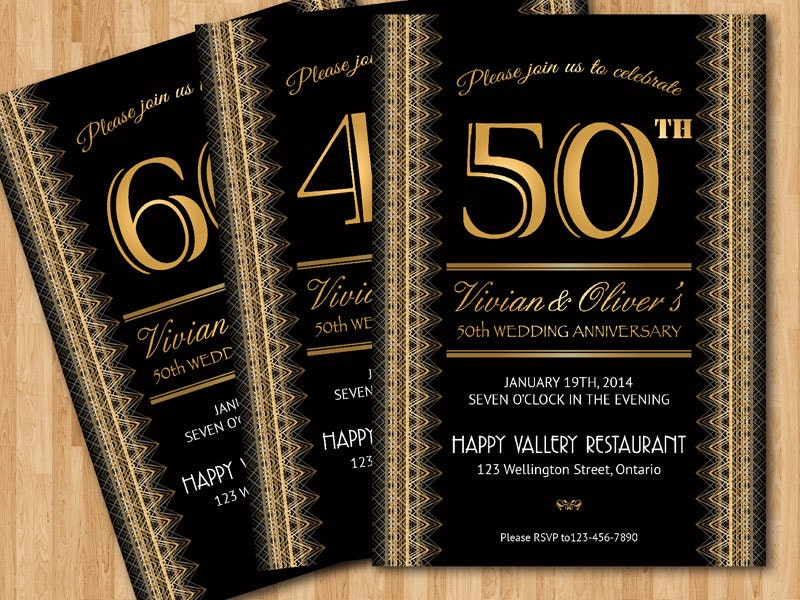 Wedding anniversary invitation. 20th 30th 40th 50th 60th