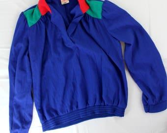 Vintage GW sz 10 1980's color block blouse